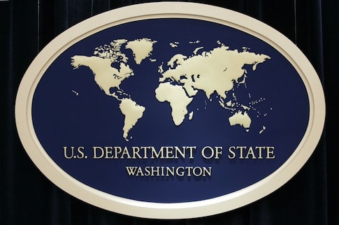 The sign used as the backdrop for press briefings at the U.S. Department of State is seen before a press conference at the State Department Thursday, Aug. 10, 2006 in Washington. (AP Photo/Charles Dharapak)