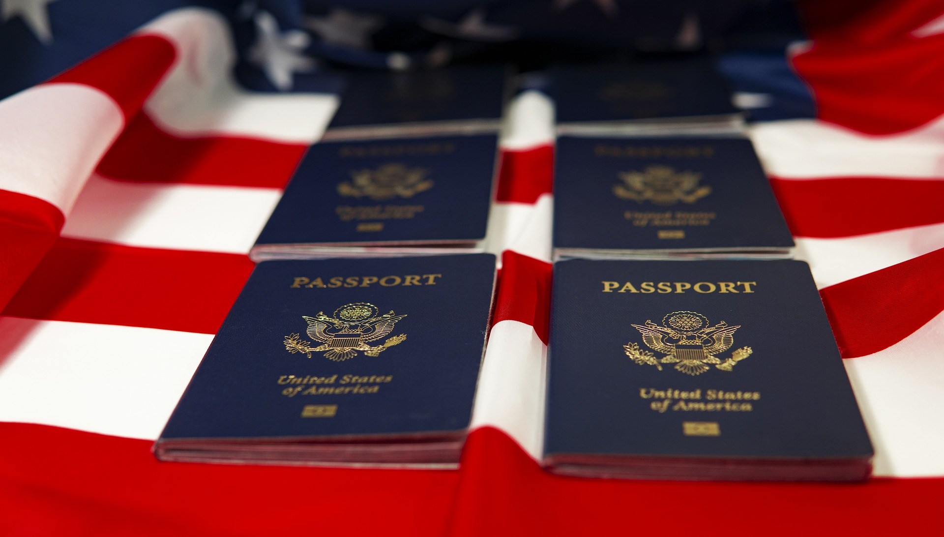 passports on american flag